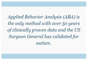 Applied Behavior Analysis (ABA) is the only method with over 50 years of clinically proven data and the US Surgeon General has validated for autism