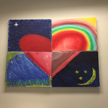 In one of ABC's team building exercises, the teachers were asked to paint how they feel about their work for the children. This Heart painting is what they painted.